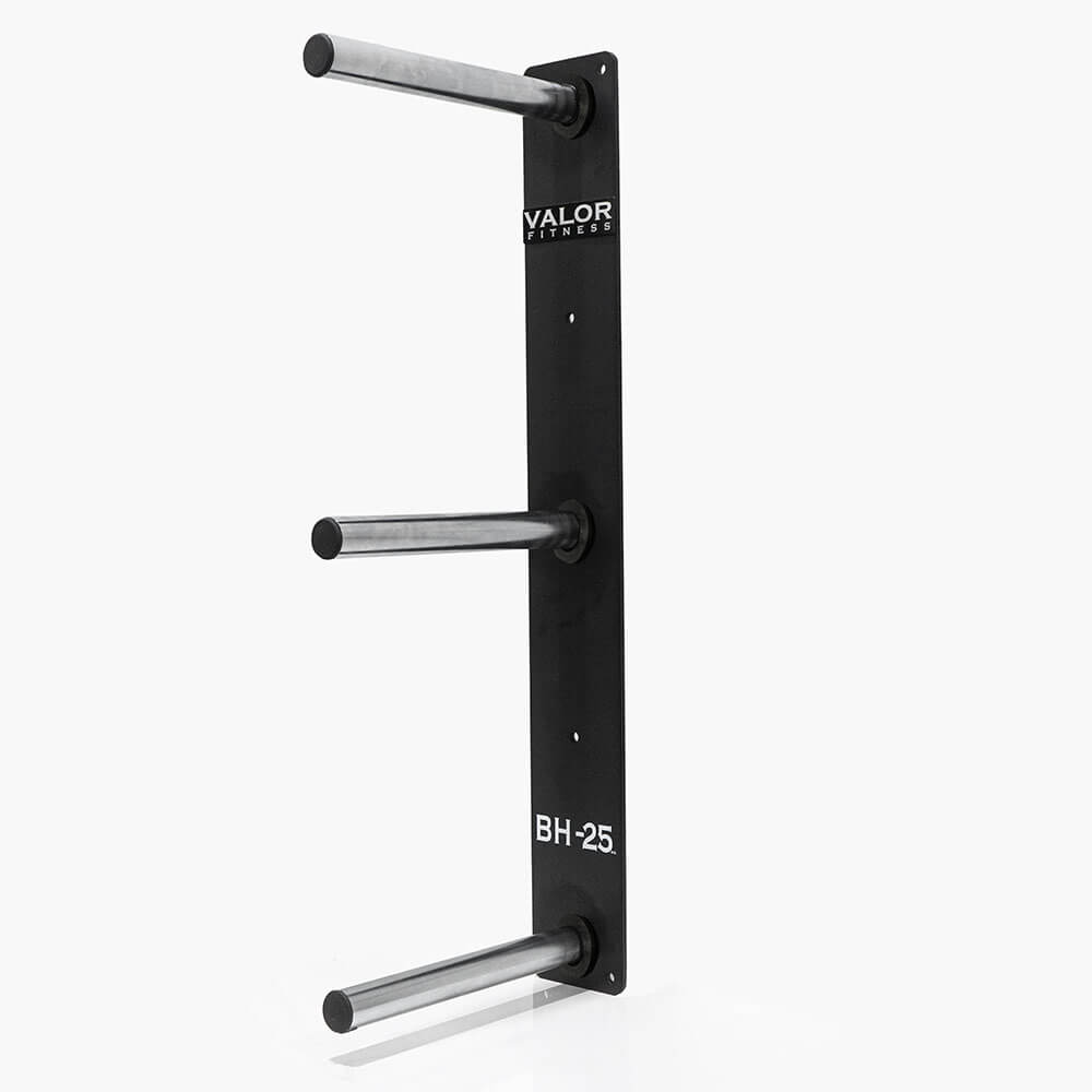 Valor Fitness BH-25 3 Peg Wall Mounted Bumper Plate Storage 3D View