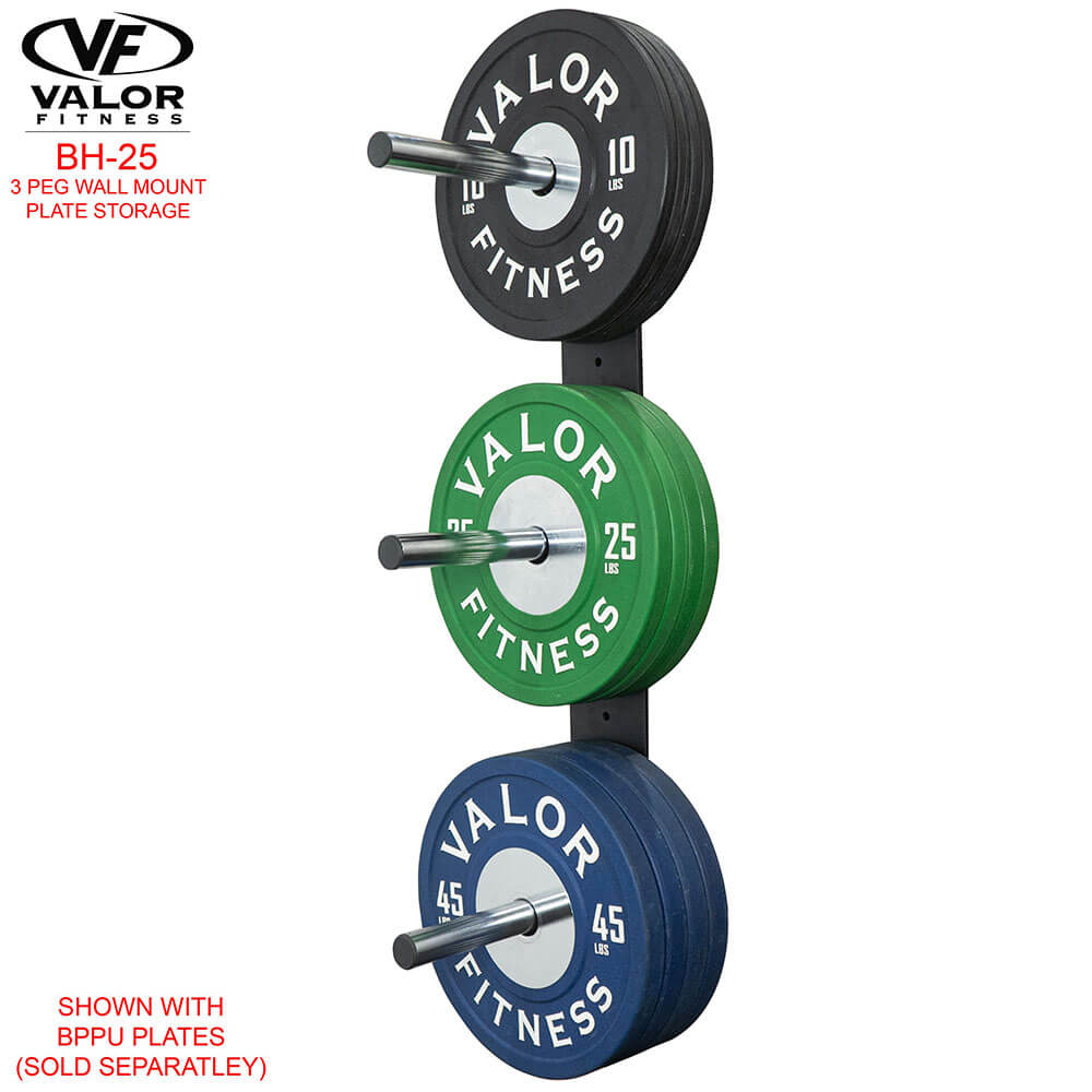 Valor Fitness BH-25 3 Peg Wall Mounted Bumper Plate Storage With Bumper Plates