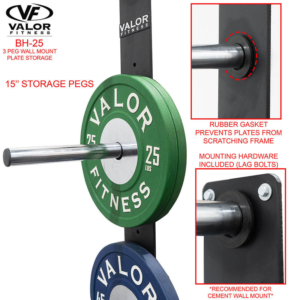Valor Fitness BH-25 3 Peg Wall Mounted Bumper Plate Storage With Bumper Plates Close Up