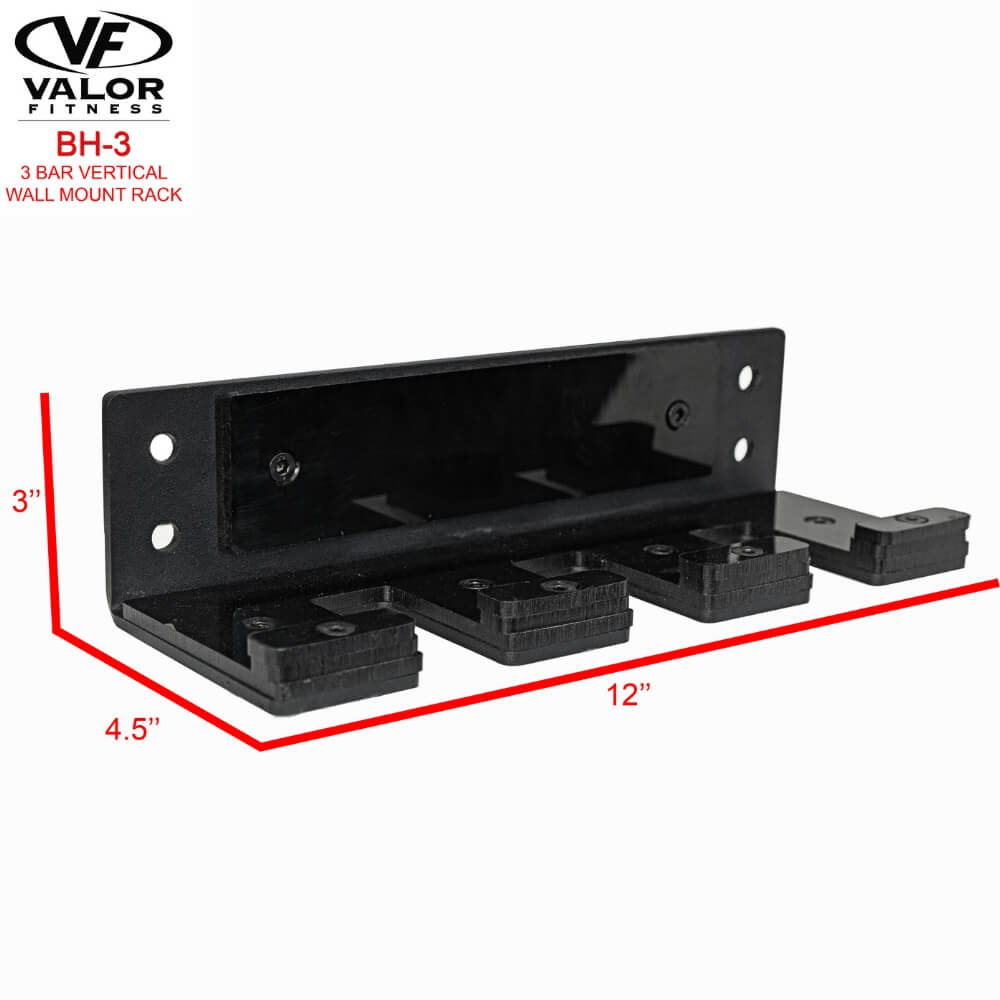 Valor Fitness BH-3 3 Bar Vertical Wall Mount Rack Dimension