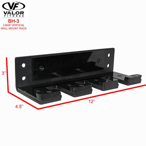 Image of Valor Fitness BH-3 3 Bar Vertical Wall Mount Rack Dimension