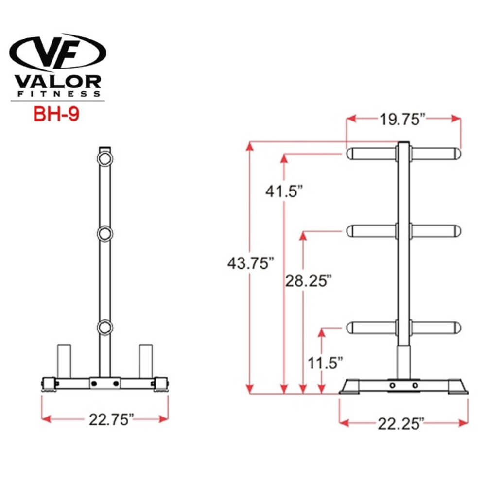 Valor Fitness BH-9 Olympic Plate Tree Stand Dimension