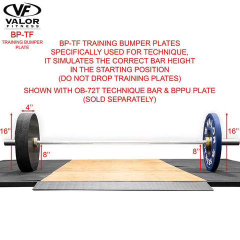 Valor Fitness BP-TF Training Bumper Plate Dimension