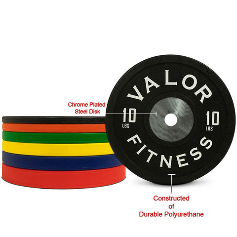 Image of Valor Fitness BPPU Polyurethane Bumper Plate 10 Lbs Chrome Plated