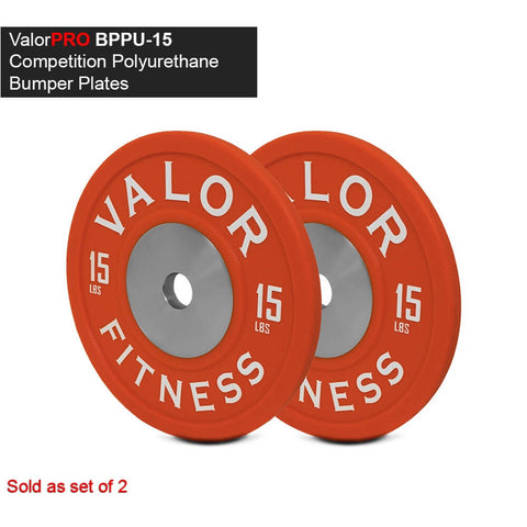 Image of Valor Fitness BPPU Polyurethane Bumper Plate 15 Lbs 3D View