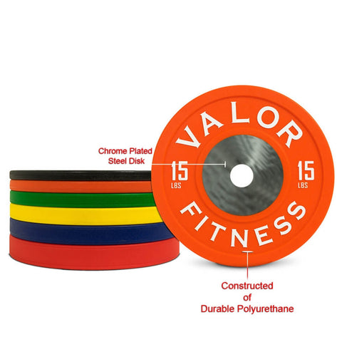 Image of Valor Fitness BPPU Polyurethane Bumper Plate 15 Lbs Chrome Plated