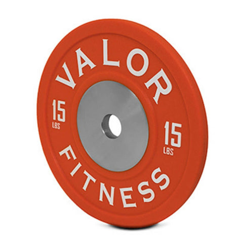 Valor Fitness BPPU Polyurethane Bumper Plate 15 Lbs Close Up