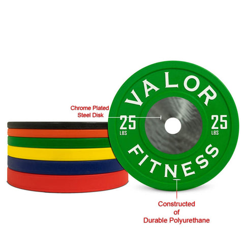 Image of Valor Fitness BPPU Polyurethane Bumper Plate 25 Lbs Chrome Plated