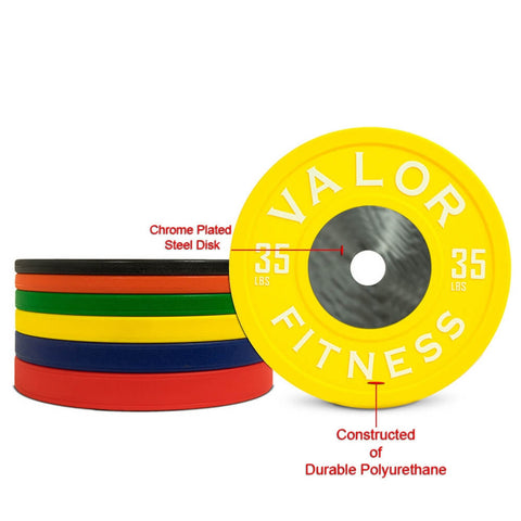 Image of Valor Fitness BPPU Polyurethane Bumper Plate 35 Lbs Chrome Plated