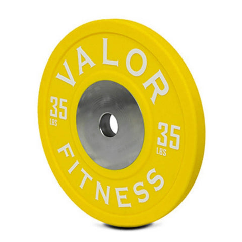 Valor Fitness BPPU Polyurethane Bumper Plate 35 Lbs Close Up