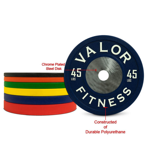 Image of Valor Fitness BPPU Polyurethane Bumper Plate 45 Lbs Chrome Plated