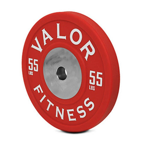 Valor Fitness BPPU Polyurethane Bumper Plate 55 Lbs Close Up
