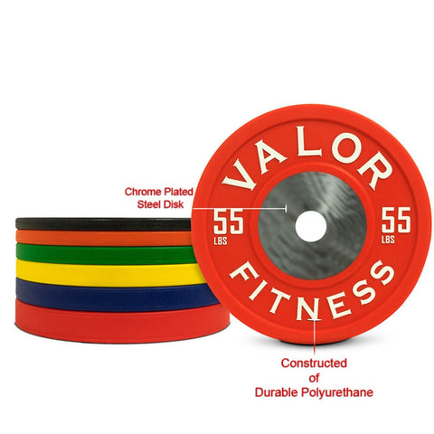 Image of Valor Fitness BPPU Polyurethane Bumper Plate 55 Lbs Chrome Plated