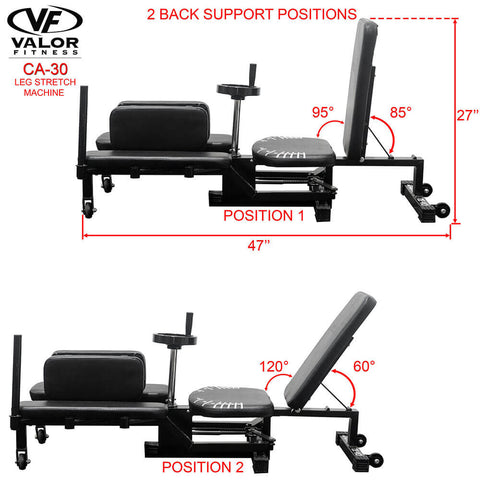 Image of Valor Fitness CA-30 Leg Stretch Machine 2 back Support Position