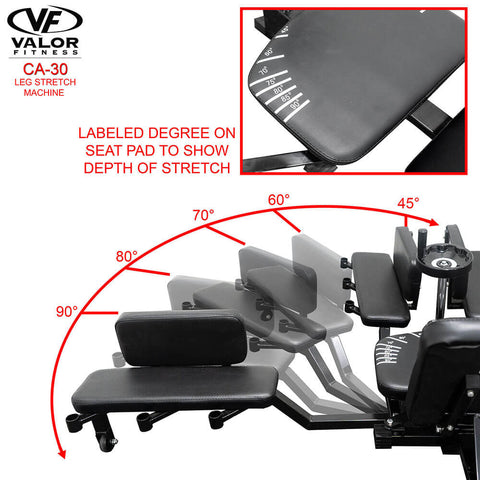 Image of Valor Fitness CA-30 Leg Stretch Machine Labeled Degree