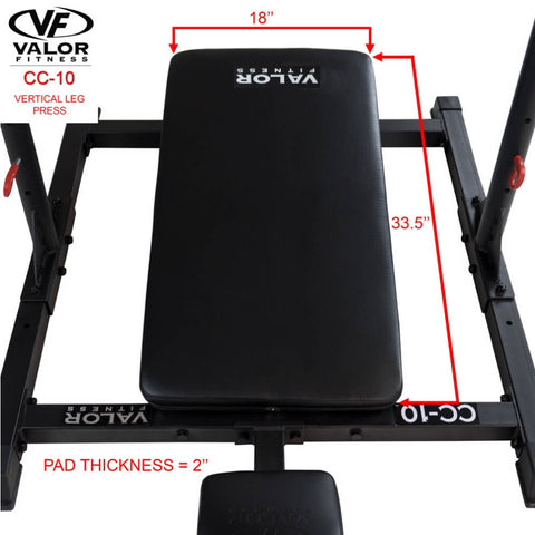 Image of Valor Fitness CC-10 Vertical Leg Press Dimensions