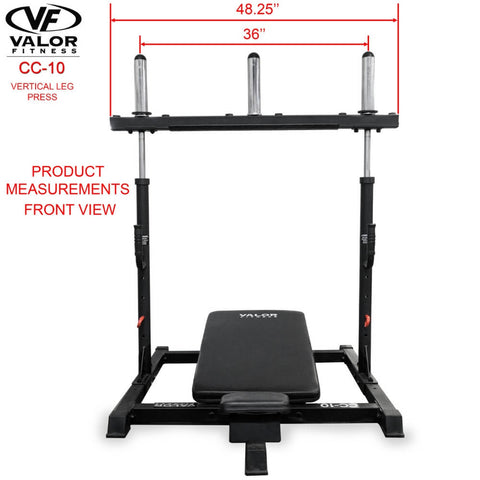 Image of Valor Fitness CC-10 Vertical Leg Press Front View Dimension