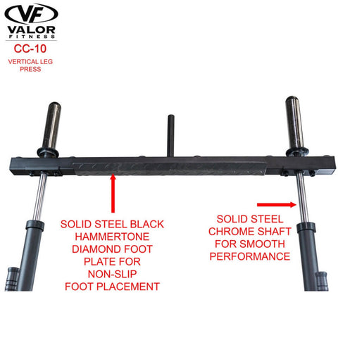 Image of Valor Fitness CC-10 Vertical Leg Press Solid Steel Chrome