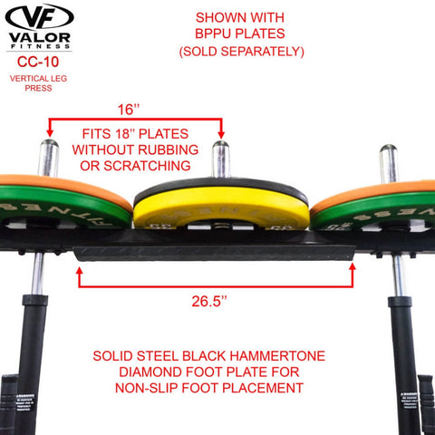 Image of Valor Fitness CC-10 Vertical Leg Press With BPPU Plates