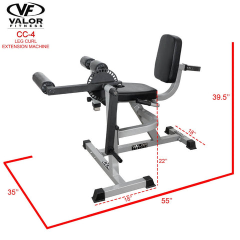 Valor Fitness CC-4 Leg Curl _ Extension Machine 3D View Dimension