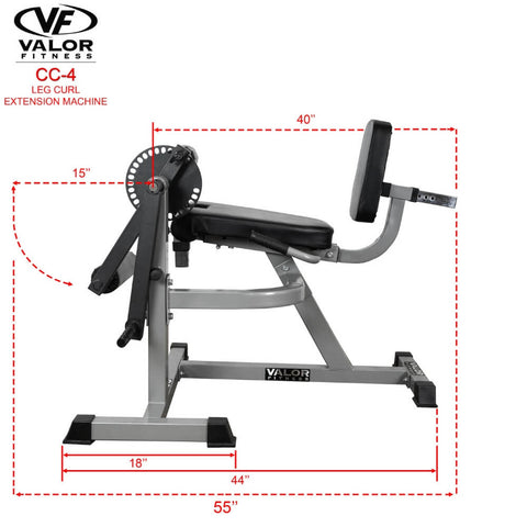 Valor Fitness CC-4 Leg Curl _ Extension Machine Dimension