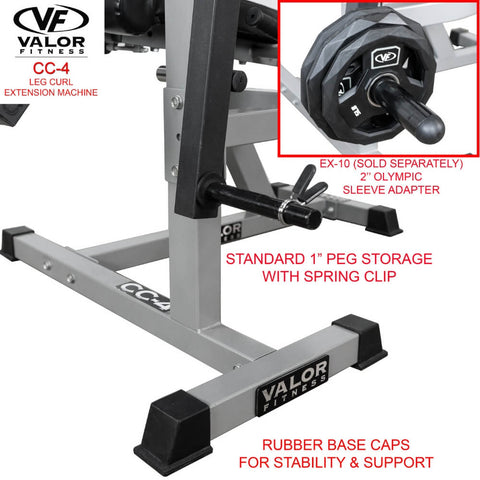 Valor Fitness CC-4 Leg Curl _ Extension Machine Rubber Base Cap