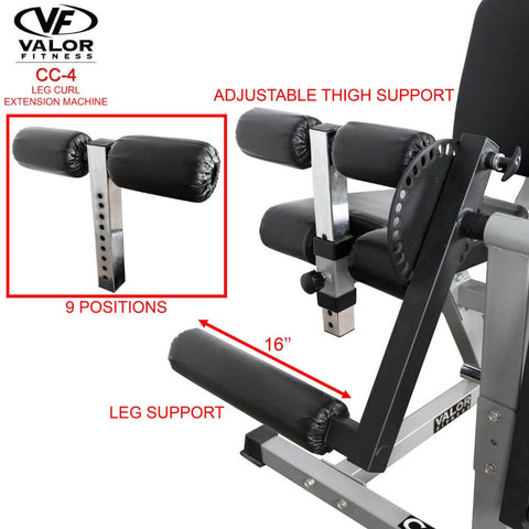 Image of Valor Fitness CC-4 Leg Curl _ Extension Machine Thigh Support