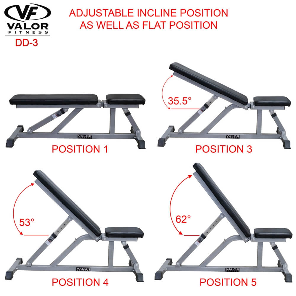 Valor Fitness DD-3 Incline_Flat Utility Bench Incline And Flat Position