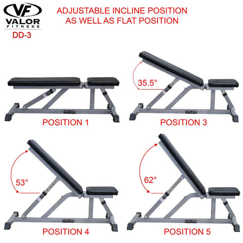Image of Valor Fitness DD-3 Incline_Flat Utility Bench Incline And Flat Position