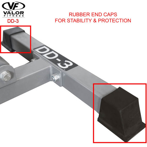 Image of Valor Fitness DD-3 Incline_Flat Utility Bench Rubber End Caps