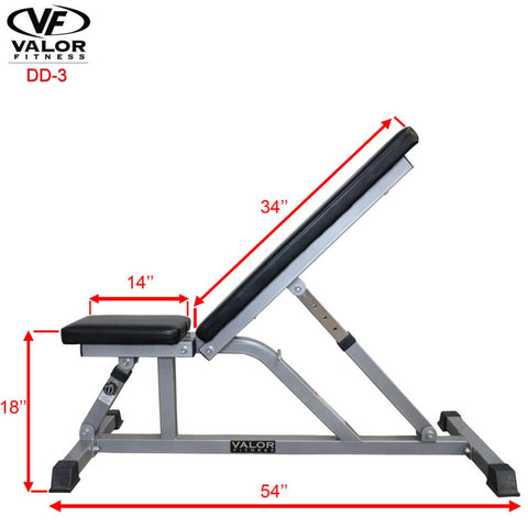 Image of Valor Fitness DD-3 Incline_Flat Utility Bench Side View Dimension