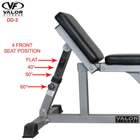Image of Valor Fitness DD-3 Incline_Flat Utility Bench Side View Front Seat Position