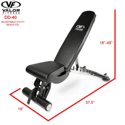 Image of Valor Fitness DD-40 ValorPRO Adjustable Utility Bench FID Dimension