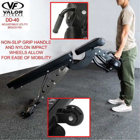 Image of Valor Fitness DD-40 ValorPRO Adjustable Utility Bench FID Non Slip Grip