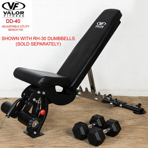 Image of Valor Fitness DD-40 ValorPRO Adjustable Utility Bench FID With Dumbbells