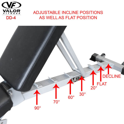 Image of Valor Fitness DD-4 Adjustable Utility Bench FID Flat Position
