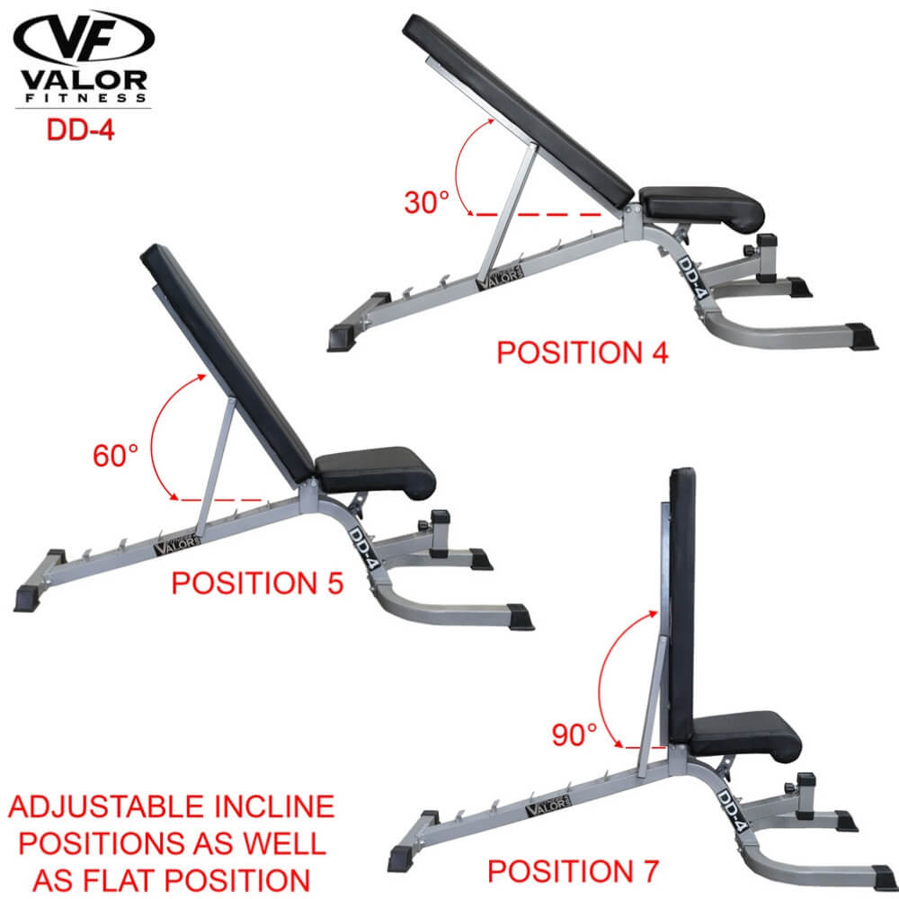Valor Fitness DD-4 Adjustable Utility Bench FID Incline And Flat Position