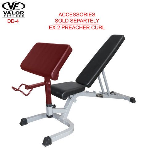 Image of Valor Fitness DD-4 Adjustable Utility Bench FID Preacher Curl