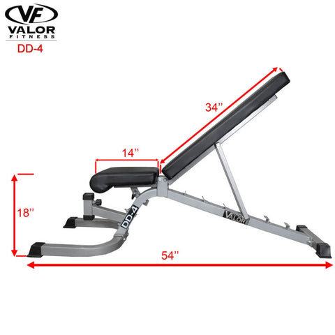 Image of Valor Fitness DD-4 Adjustable Utility Bench FID Side View Dimension