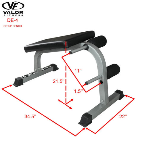 Image of Valor Fitness DE-4 Sit Up Bench 3D View Dimension