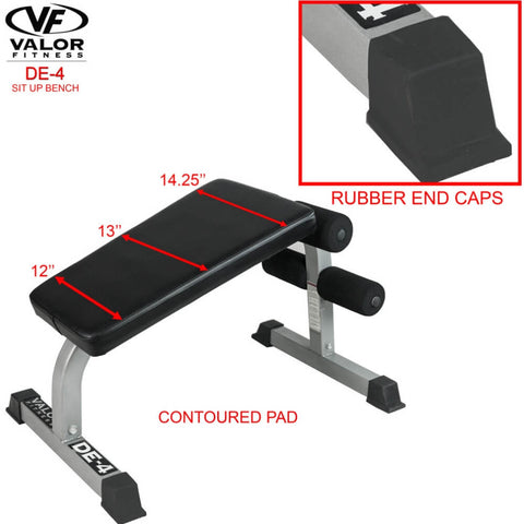 Image of Valor Fitness DE-4 Sit Up Bench Rubber End Caps