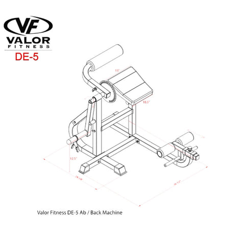 Valor Fitness DE-5 Ab _ Back Machine Dimension