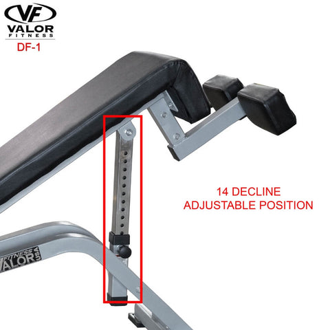 Image of Valor Fitness DF-1 Decline_Flat Bench Pro Decline Position
