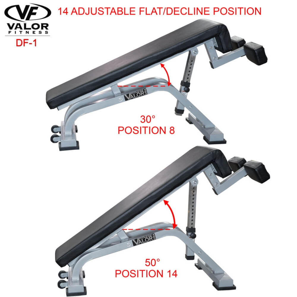 Valor Fitness DF-1 Decline_Flat Bench Pro Thirty And Fifty Degree Position