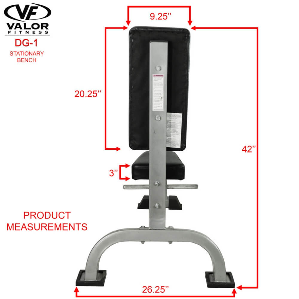 Valor Fitness DG-1 Stationary Bench Back View Dimension