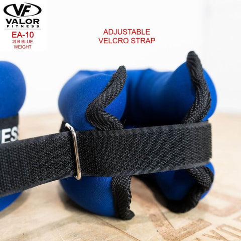 Image of Valor Fitness EA-10 2 lb Blue Weight (2) Velcro Strap