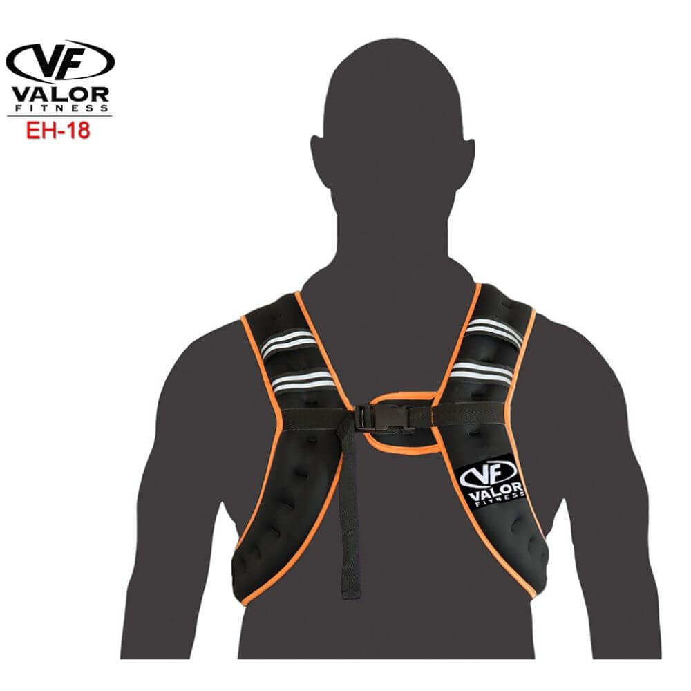 Valor Fitness EH-18 18 lb Weight Vest Front View With Dummy
