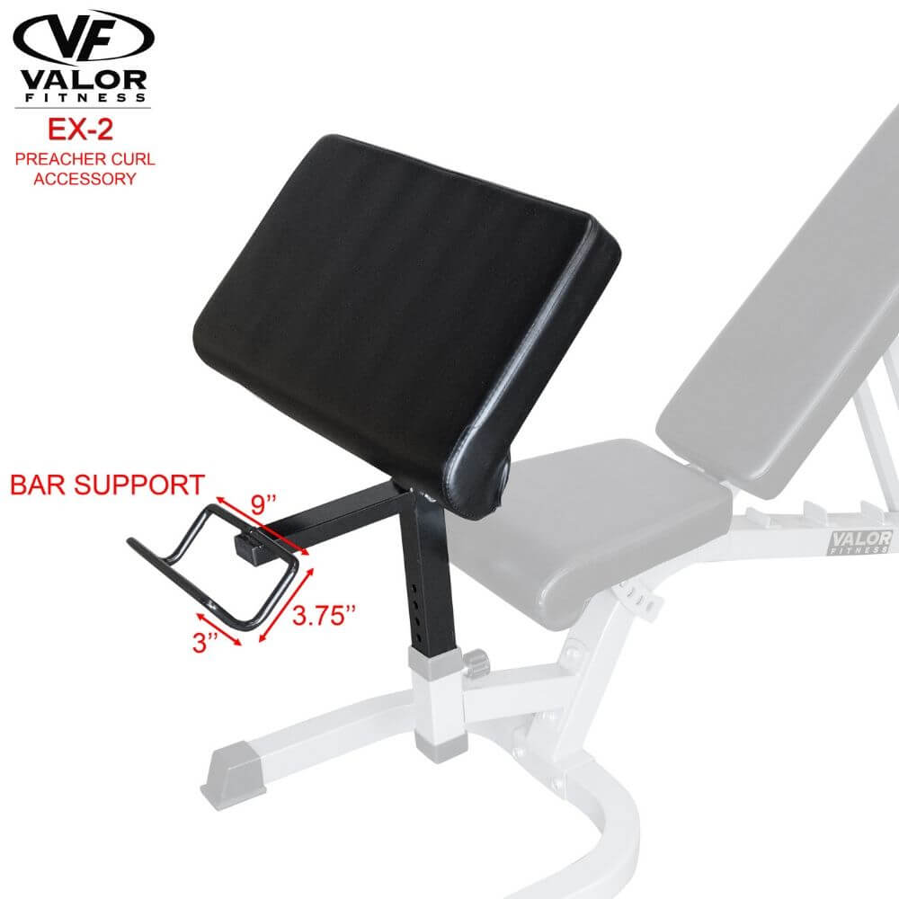 Valor Fitness EX-2 Preacher Curl Accessory Bar Support