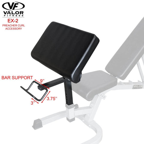 Image of Valor Fitness EX-2 Preacher Curl Accessory Bar Support