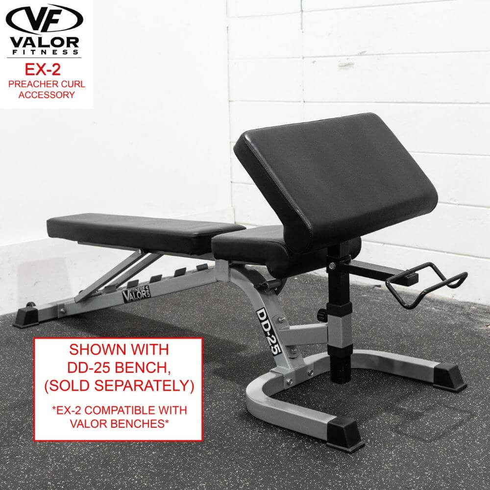 Valor Fitness EX-2 Preacher Curl Accessory With Bench